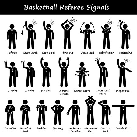 Basketball Referees Officials Hand Signals Stick Figure Pictogram Icons Vettoriali