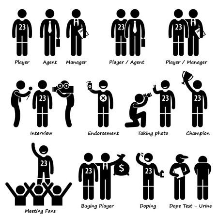illegal substance: Sportsman Sport Player Management Stick Figure Pictogram Icons