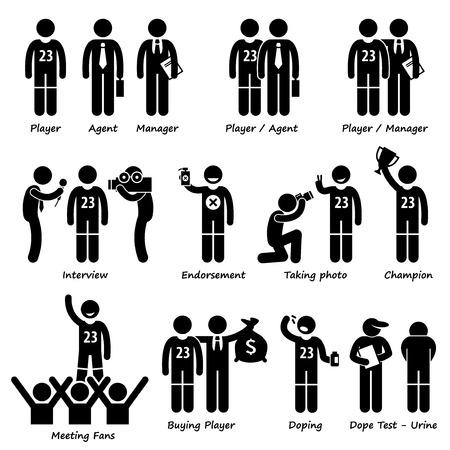 Sportsman Sport Player Management Stick Figure Pictogram Icons