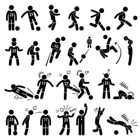 in action: Football Soccer Player Footballer Actions Poses Stick Figure Pictogram Icons