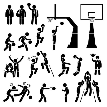 basketball dunk: Basketball Payer Action Poses Stick Figure Pictogram Icons