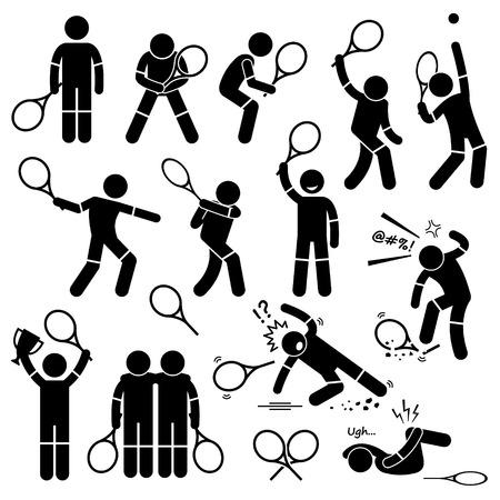 hombre deportista: Acciones jugador de tenis Poses Posturas Figura Stick Pictograma Iconos