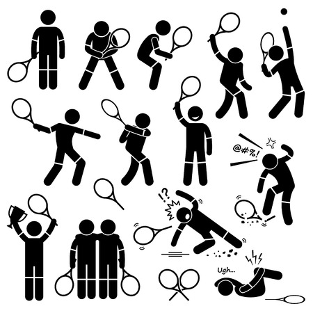 Tennis Speler Akties Poses Postures Stick Figure Pictogram Pictogrammen Stock Illustratie