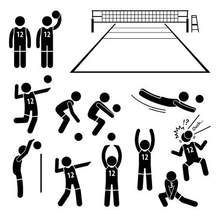 Volleybal Speler Akties Poses Postures Stick Figure Pictogram Pictogrammen Stock Illustratie