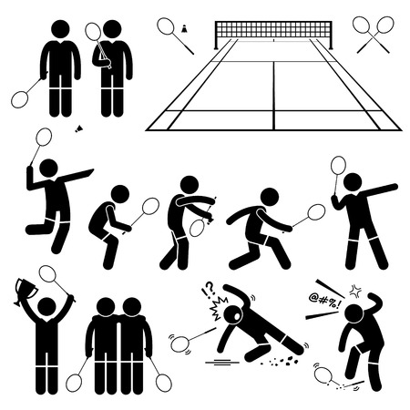 badminton racket: Badminton Player Actions Poses Stick Figure Pictogram Icons