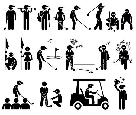 hombre deportista: Acciones Golf jugador Poses Figura Stick Pictograma Iconos