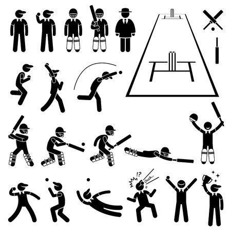 cricket game: Cricket Player Actions Poses Stick Figure Pictogram Icons Illustration