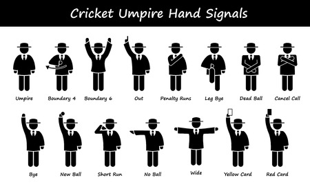 cricket game: Cricket Umpire Referee Hand Signals Stick Figure Pictogram Icons