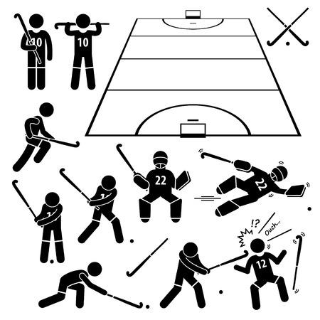 hockey sobre cesped: Acciones jugador de hockey hierba Poses Figura Stick Pictograma Iconos