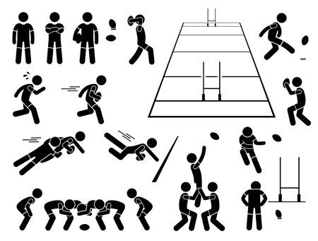 pelota rugby: Acciones del jugador de rugby Poses Figura Stick pictograma Iconos Vectores