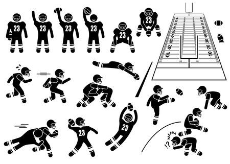 terrain foot: Actions Joueur de football américain Poses Stick Figure pictogrammes Icônes