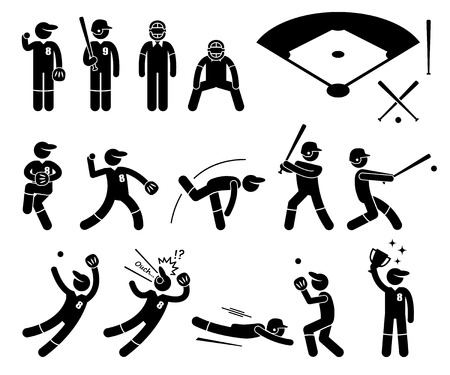 figura humana: Acciones del jugador de b�isbol Poses Figura Stick Pictograma Iconos Vectores