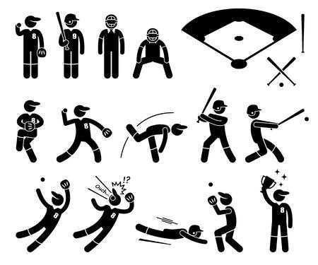 Baseball Spieleraktionen Poses Strichmännchen-Piktogramm Icons