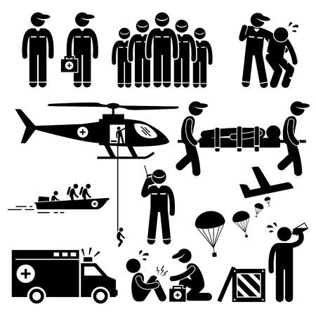 equipe medica: Salvataggio di emergenza team Stick Figure pittogrammi Icone