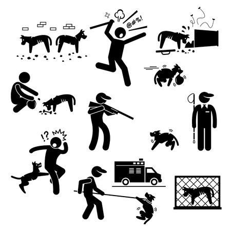 hombre disparando: Perro callejero Issue Problema Figura Stick Pictograma Iconos Vectores