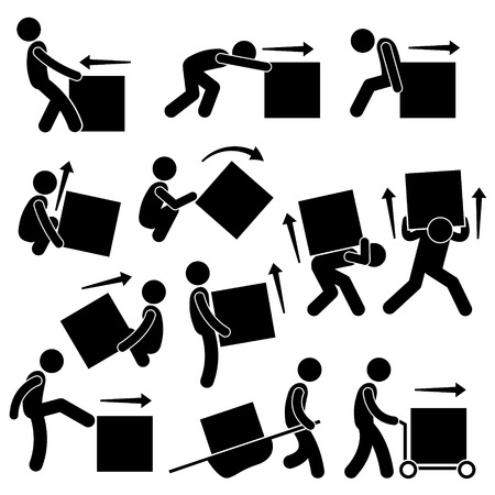 push up: Man Moving Box Actions Postures Stick Figure Pictogram Icons
