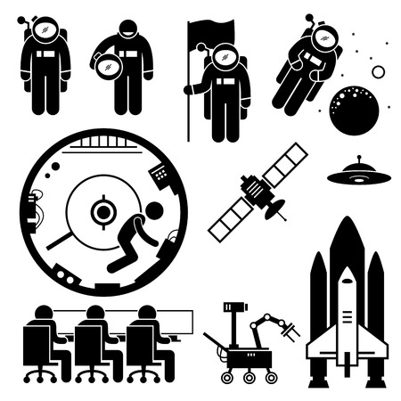 astronaut in space: Astronaut Space Exploration Stick Figure Pictogram Icons