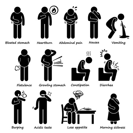 acid reflux: Indigestion Symptoms Problem Stick Figure Pictogram Icons
