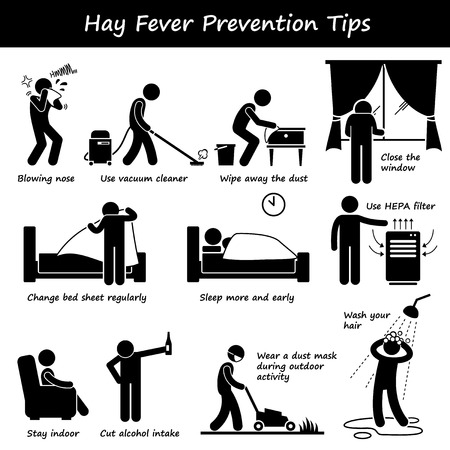 hair mask: Hay Fever Prevention Allergy Tips Stick Figure Pictogram Icons