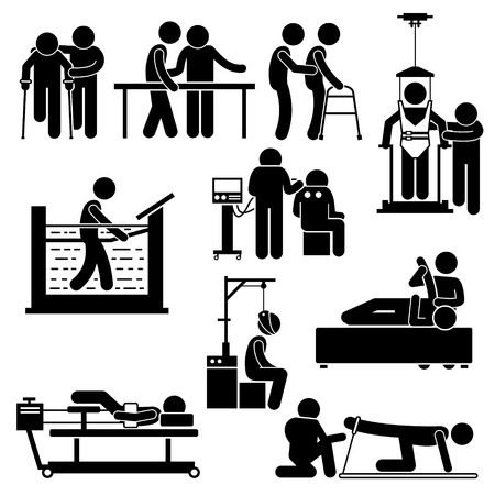 guy with walking stick: Physio Physiotherapy and Rehabilitation Treatment Stick Figure Pictogram Icons