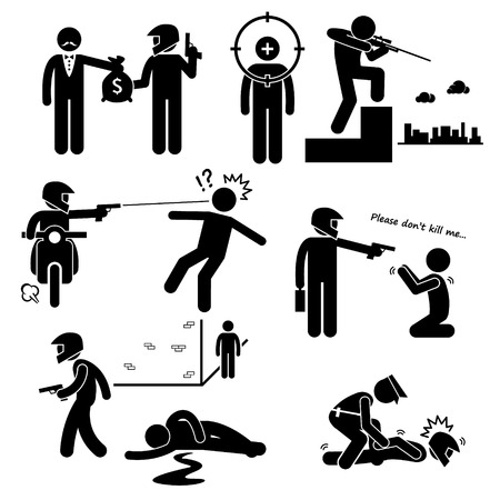 murdering: Assassination Hitman Killer Murder Gunman Stick Figure Pictogram Icons Illustration