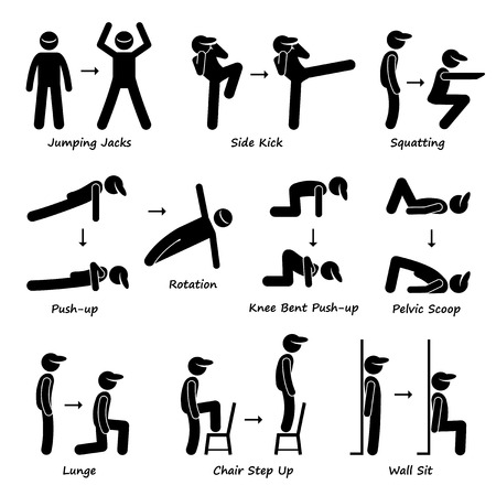 Body Workout Övning Fitness Training Set 1 Pinnen figurerar Pictogram Ikoner Illustration