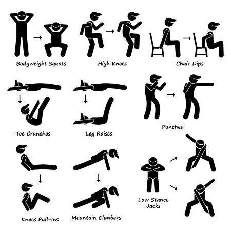 ejercicio: Entrenamiento Corporal Ejercicio Fitness Training Set 2 Figura Stick Pictograma Iconos
