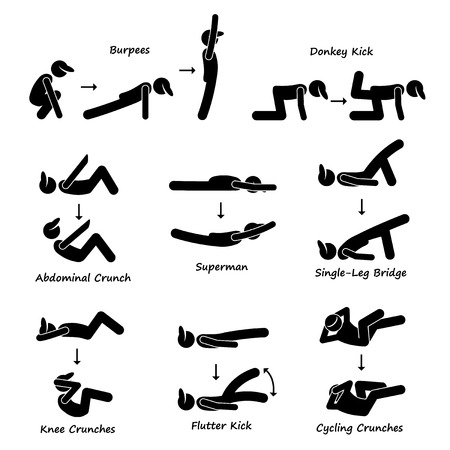 Body Workout Övning Fitness Training Set 3 Pinnen figurerar Pictogram Ikoner