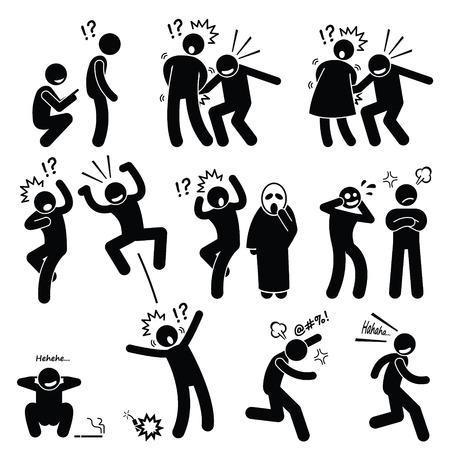 silhouette femme: Funny People Prank actions ludiques chiffre de bâton pictogrammes Icônes