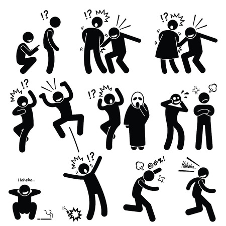 irritating: Funny People Prank Playful Actions Stick Figure Pictogram Icons