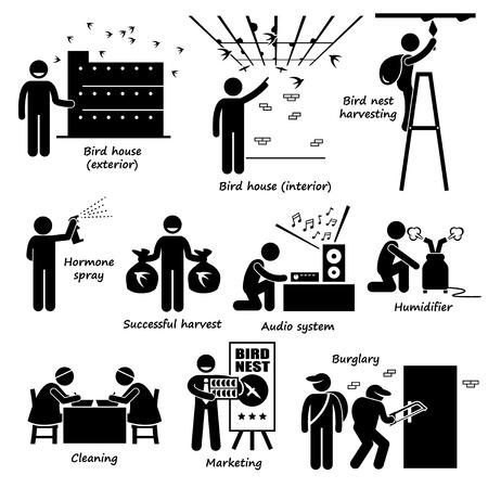 ladder of success: Swiftlet Farming Bird Nest Stick Figure Pictogram Icons