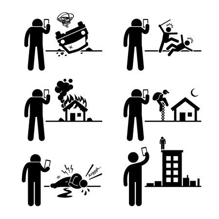 pictogramme: Utilisation de l'appareil photo de téléphone pour prendre et enregistrement vidéo Photo de l'incident Stick Figure pictogrammes Icônes Illustration