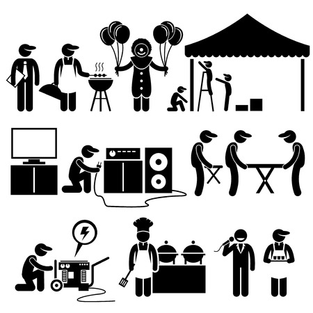 setup man: Celebration Party Festival Event Services Stick Figure Pictogram Icons