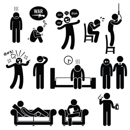 figura humana: Psicología trastorno psiquiátrico mental Problema Psycho Tratamiento Enfermedad Vectores