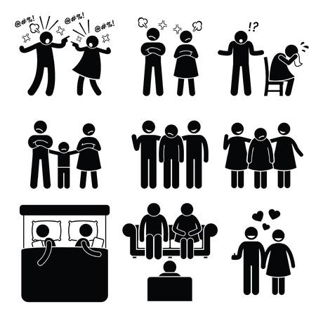 カウンセラーと結婚家族問題夫婦夫妻  イラスト・ベクター素材