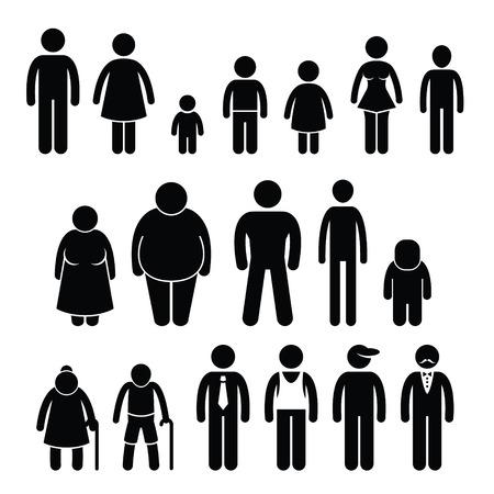cartoon mensen: Mensen Karakter Man Vrouw Kinderen Leeftijd Omvang van het Cijfer Pictogram Pictogrammen Stock Illustratie