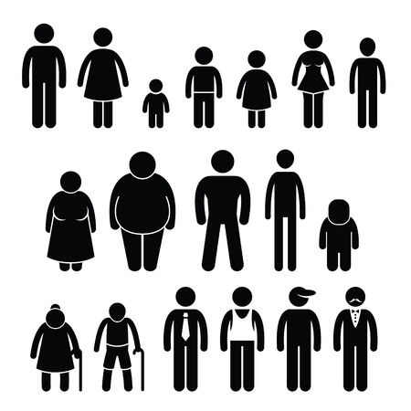 obese person: People Character Man Woman Children Age Size Stick Figure Pictogram Icons