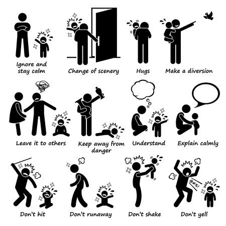 strichmännchen: Hinweise zum Umgang mit Kind-Kind-Tantrum Outburst Strichmännchen-Piktogramm Icons Illustration