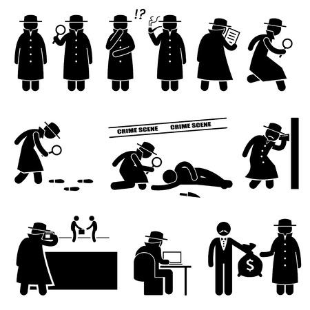 strichmännchen: Detective Spy Private Investigator-Strichmännchen-Piktogramm Icons Illustration