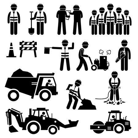 operarios trabajando: Camino del trabajador de construcción Figura Stick Pictograma Iconos Vectores