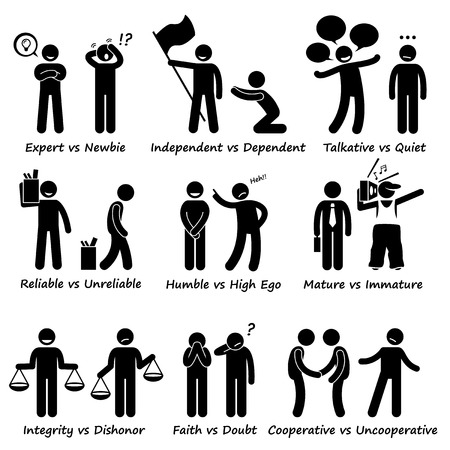 negative: Human Opposite Behaviour Positive vs Negative Character Traits Stick Figure Pictogram Icons Illustration