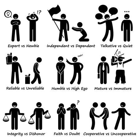 integridad: Humano Frente Comportamiento Positivo vs carácter negativo Rasgos Figura Stick Pictograma Iconos