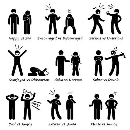 homme triste: Opposés ressentir des émotions positives vs actions négatives chiffre de bâton pictogrammes Icônes