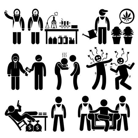 drogadiccion: Cocinar Químico Ilegal de Drogas Señor negocios Syndicate Gangster Figura Stick Pictograma Iconos