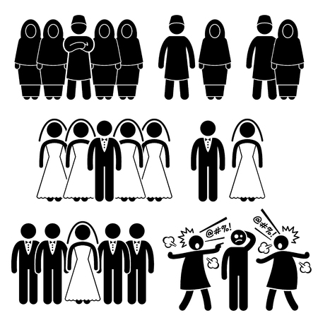 adults sex: Polygamy Marriage Multiple Wife Husband Stick Figure Pictogram Icons Illustration