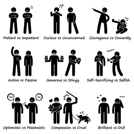 compassion: Human Personalities Opposite Values Positive vs Negative Stick Figure Pictogram Icons