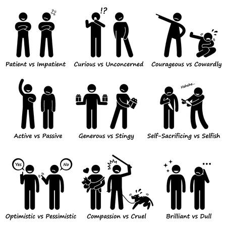 Menschliche Persönlichkeiten entgegengesetzte Werte Positive vs Negative Strichmännchen-Piktogramm Icons Illustration