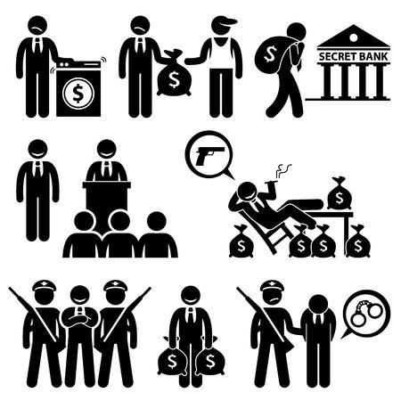 derecho penal: Lavado de Dinero Sucio Actividad Ilegal Politic Crimen Figura Stick Pictograma Iconos Vectores