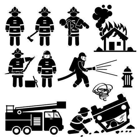 incendio casa: Bombero Bombero de rescate Figura Stick Pictograma Iconos Vectores