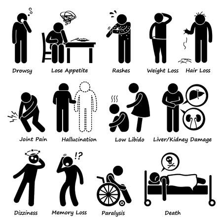 Medication Drug Side Effects Symptoms Pictogram Vettoriali